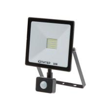 Прожектор светодиодный с датчиком движения 30 Вт 6500K ЮПИТЕР (2600 лм, холодный белый свет) (JP1202-30)